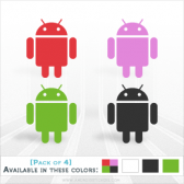 mini Android Decal Pack - 4 Individual Die Cut Stickers