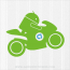 Android Riding Motorcycle Decal