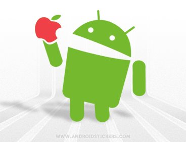 Android Eating Apple Decal
