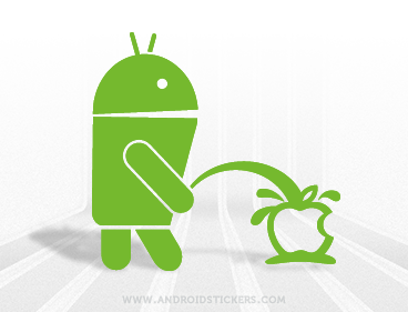 Android Pissing on Apple Faboy Decal