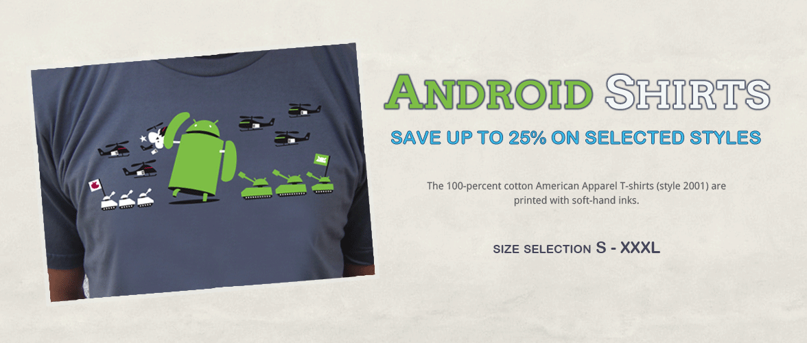 Android T-Shirts / 100% Cotton / Quality Print